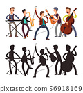 Male pop music band playing music. Vector illustration of cartoon character and silhouette 56918169