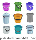 Bucket and pail set. Empty containers with handle, trash bins and buckets with water. Cartoon 56918747