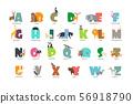 Cartoon wild animals kids alphabet for children studying english. Education vector background 56918790