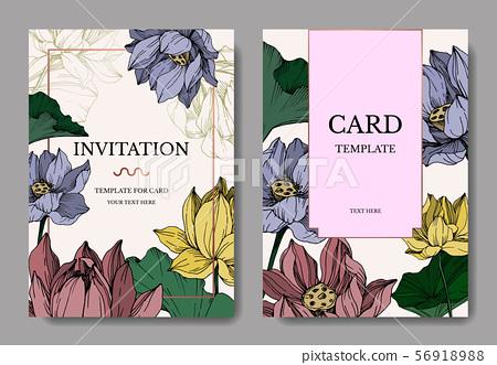 Vector Lotus floral botanical flowers. Black and white engraved ink art. Wedding background card 56918988