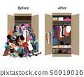 Before untidy and after tidy wardrobe. Messy clothes thrown on a shelf and nicely arranged clothes 56919016