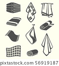 Kitchen and room service towels, napkins, textile vector illustration 56919187