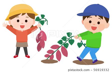 開掘木柴例證的孩子和人 56919332
