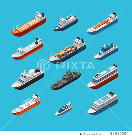 Isometric 3d military and passenger ships, boat and yacht vector sea transportation and shipping 56919594
