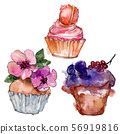 Tasty cupcake in a watercolor style. Background illustration set. Watercolour drawing fashion 56919816