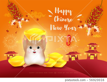 Happy New Year 2020. Cute little mouse with ingot. Chinese New Year. The year of the rat. 56920016