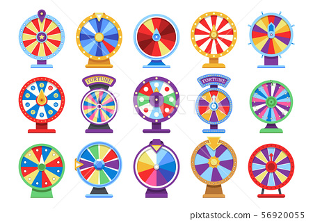 Fortune wheels flat icons set. Spin lucky wheel casino money game symbols 56920055