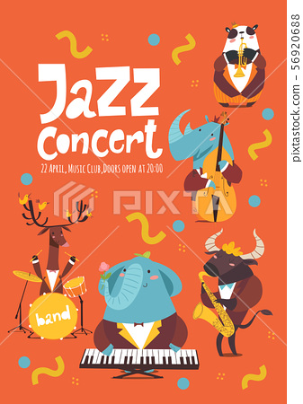 Jazz music poster design with cartoon animals playing music instruments 56920688