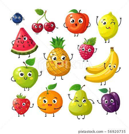 Cartoon funny fruits. Happy kiwi banana raspberry orange cherry with face. Summer fruit and berry 56920735