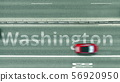 Aerial top down view of the road with Washington caption. Car travel in the United States 3D 56920950