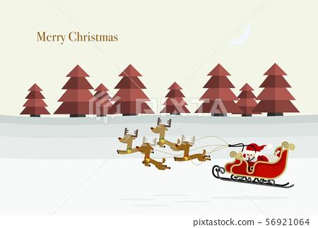 與飛行低在多雪的領域的聖誕老人和馴鹿的聖誕卡設計 56921064