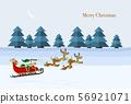 與飛行低在多雪的領域的聖誕老人和馴鹿的聖誕卡設計 56921071