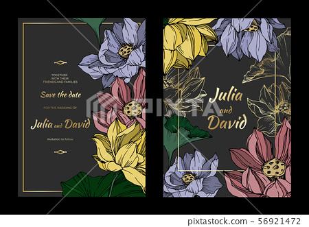 Vector Lotus floral botanical flowers. Black and white engraved ink art. Wedding background card 56921472