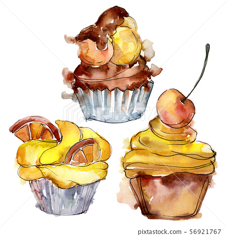 Tasty cupcake in a watercolor style. Background illustration set. Watercolour drawing fashion 56921767