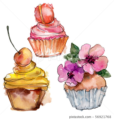Tasty cupcake in a watercolor style. Background illustration set. Watercolour drawing fashion 56921768