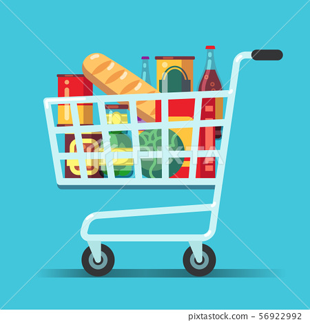 Full supermarket shopping cart. Shop trolley with food. Grocery store vector icon 56922992