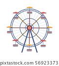 Amusement park Ferris wheel flat color vector icon 56923373