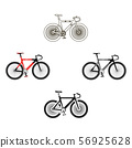 Bicycle icon cartoon,black. Single sport icon from the big fitness, healthy, workout cartoon,black. 56925628
