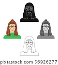 The girl s face is wearing glasses. Face and appearance single icon in cartoon,black style vector 56926277