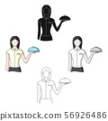 The waitress.Professions single icon in cartoon,black style vector symbol stock illustration web. 56926486