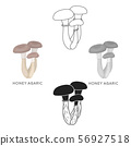 Honey agaric icon in cartoon,black style isolated on white background. Mushroom symbol stock vector 56927518