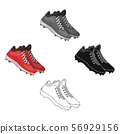Baseball Sneakers. Baseball single icon in cartoon,black style vector symbol stock illustration web. 56929156