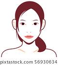 年轻日本女性模型上身例证(秀丽/面孔)/真面孔 56930634