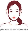 젊은 일본인 여성 모델 상반신 일러스트 (미용 스킨 케어) / 입을 곤두 세우고있다 얼굴 56930639