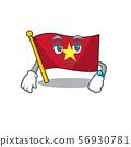 Waiting flag vietnam above wooden table cartoon 56930781