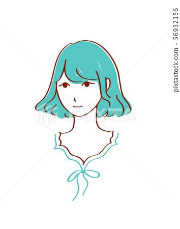 귀여운 소녀의 일러스트 초콜릿 민트 컬러 56932156