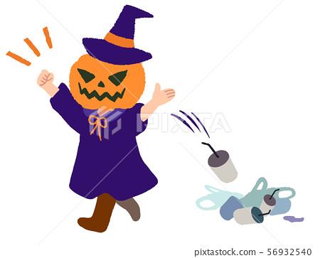 Halloween garbage littering pumpkin head 56932540
