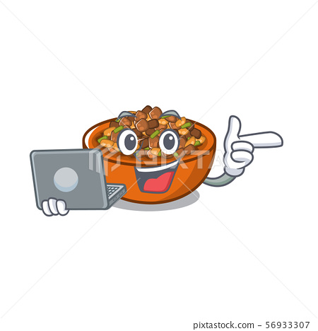 With laptop kung pao chicken isolated with cartoon 56933307