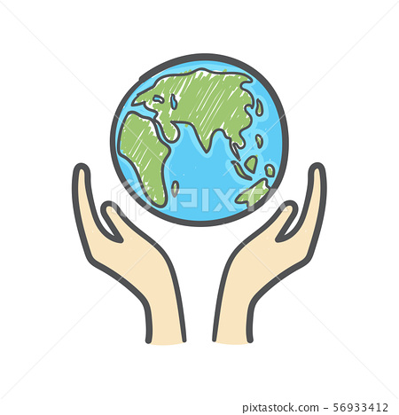 Globe And Hands Doodle Earth Icon Hand Drawn Stock Illustration 56933412 Pixta Free icons of earth in various design styles for web, mobile, and graphic design projects. https www pixtastock com illustration 56933412
