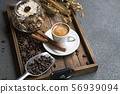 Espresso cup,coffee bean,cinnamon and dried 56939094