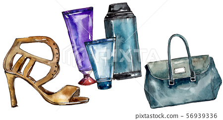 Fashionable sketch glamour illustration in a watercolor style isolated element. Watercolour 56939336