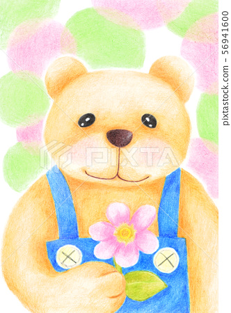 Bear with flowers (color pencil drawing) 56941600