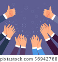 Hands clapping. Thumbs up and applause gestures. Congratulation, appreciation and business success 56942768