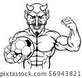 Devil Soccer Football Sports Mascot Holding Ball 56943821