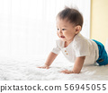 Portrait happy baby boy is crawling on white carpet in the room. Asian baby boy is crawling and smiling. 56945055