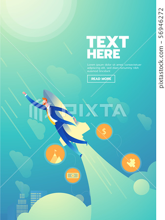 Businessman startup poster with text 56946272