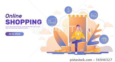 Online shopping banner layout 56946327