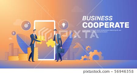 Businessman cooperate startup team banner layout 56946358