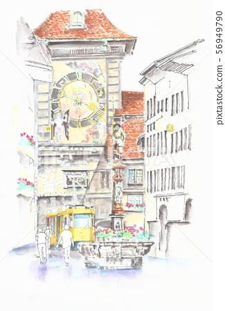 World heritage cityscape, Switzerland, Bern, clock tower 56949790