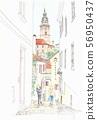 World heritage streets, Czech Republic, Cesky Krumlov Alley 56950437