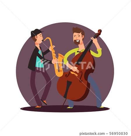 Flat vector classic instrumental duet musicians cartoon characters 56950830