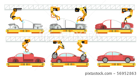 Car factory. Robotic automotive assembly line with automobiles. Conveyor for car assembly vector 56952863