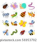 Cute and funny bugs, insects vector collection. Cartoon insects set 56953702