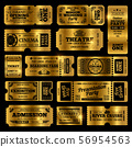 Circus, party and cinema vector vintage admission tickets templates. Golden tickets isolated on 56954563