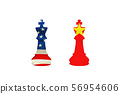 USA and China chess pieces isolated on white background. 56954606