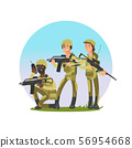 Group of soldiers vector illustration. Military male and female cartoon character 56954668